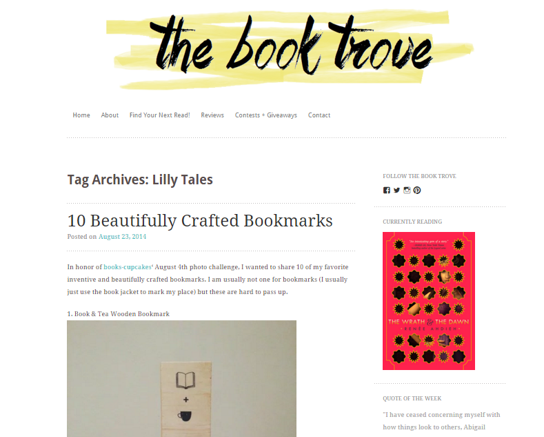 Excerpt from The Book Trove blog post, '10 Beautifully Crafted Bookmarks'