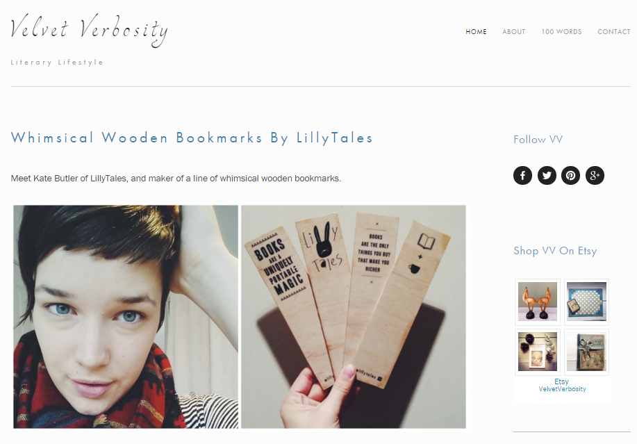 Interview from Velvet Verbosity's blog post 'Whimsical Wooden Bookmarks by Lillytales'