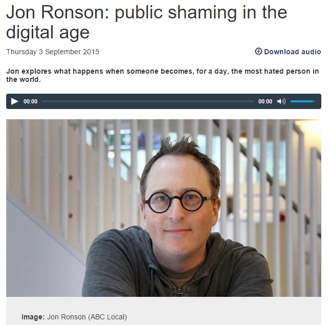 Jon Ronson image from ABC Conversations website